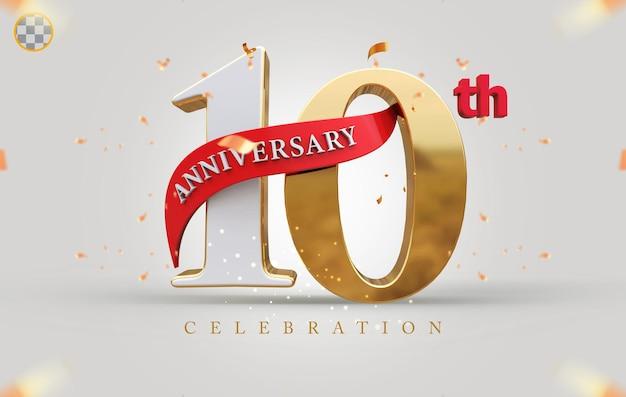 3d 10-jähriges jubiläum mit goldenem stil