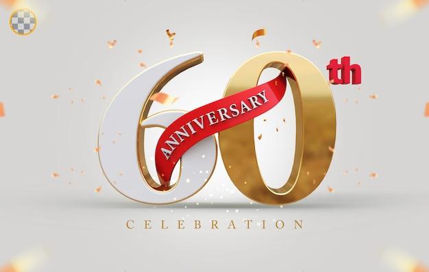 3d 60-jähriges jubiläum mit goldenem stil