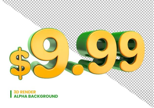 3d 9,99-dollar-preiszeichen