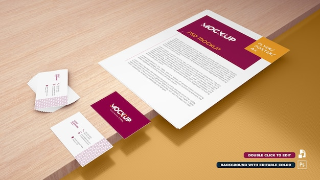 3d a4 papier- und visitenkartenmodell