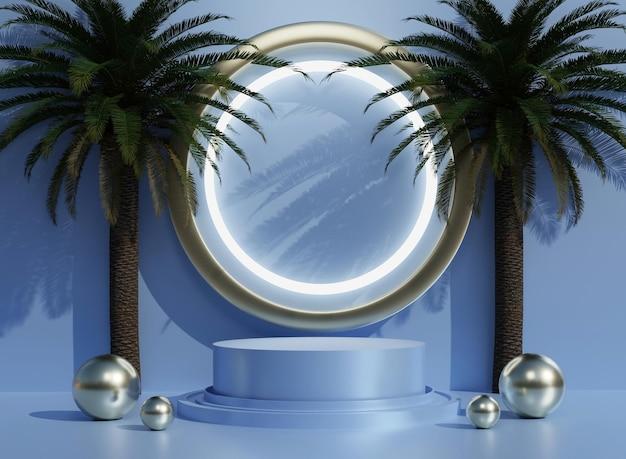 3d abstraktes blaues podium mit bäumen für die produktpräsentation im hintergrund und bearbeitbare farbe