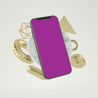 3d abstraktes smartphone-modell 3d-rendering