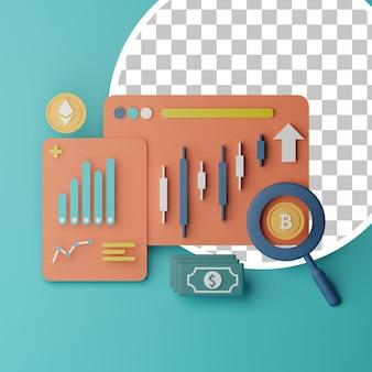 3d-aktienhersteller-kryptowährungstools-analyseillustration