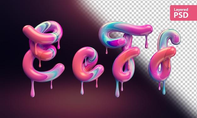 3d alphabet mit schmelzender bunter farbe. buchstaben e e f f.