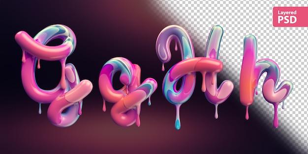 3d alphabet mit schmelzender bunter farbe. buchstaben g g h h.