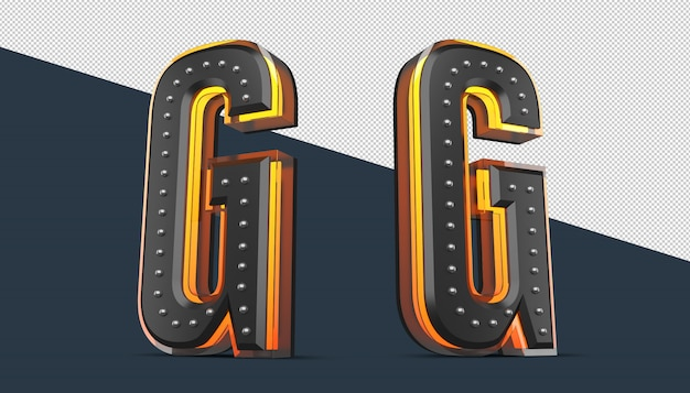 3d-alphabet mit stiftdekoration und neonlichteffekt