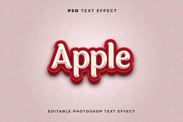 3d-apple-texteffekt-vorlage mit roter farbe
