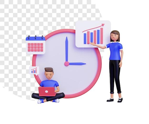 3d-arbeitszeit mit männlichen und weiblichen charakteren