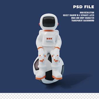 3d-astronautenfigur mit dem ball