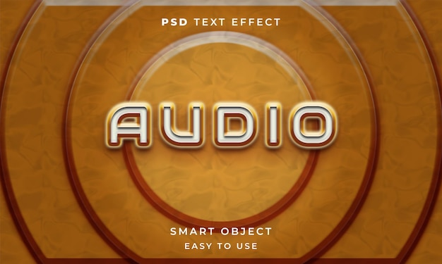 3d-audiotexteffektvorlage mit gelber farbe