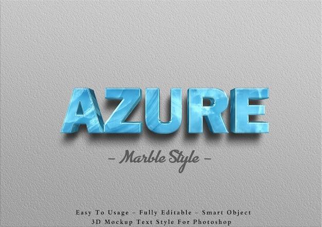3d azurblauer marmor-texteffektschablone