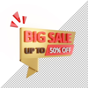 3d badge big sale bis zu 50% rabatt isoliert