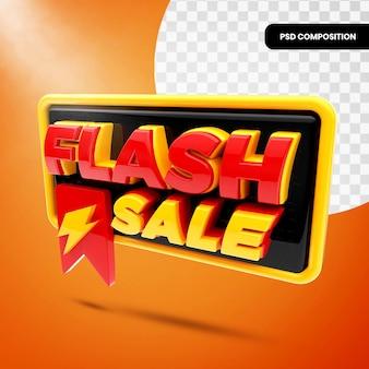 3d badge flash sale isoliert