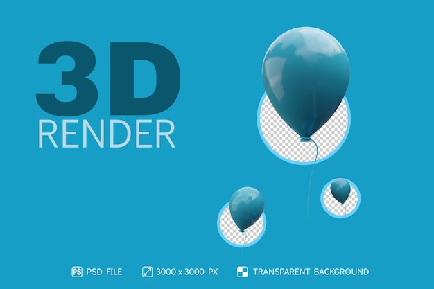 3d-ballon mit isoliertem hintergrund