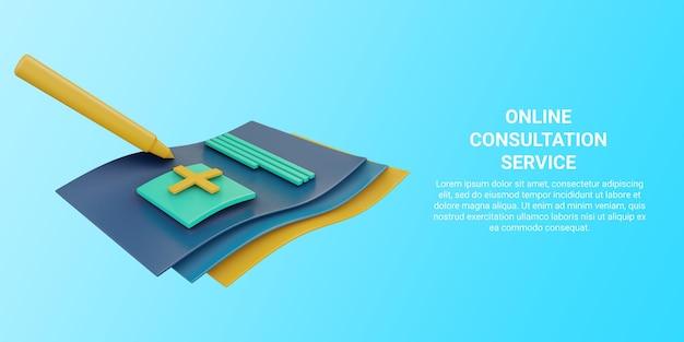 3d-banner der gesundheitsvereinbarung oder des versicherungsdienstes