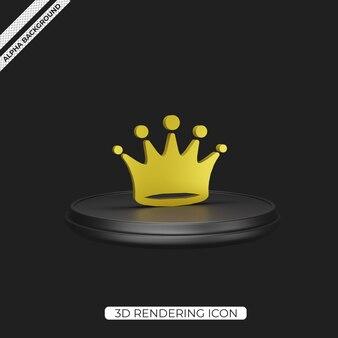 3d black crown render-icon-design