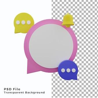 3d-blasen-chat-hintergrund-poster-asset mit kreis-leerraum