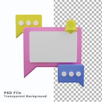 3d-blasen-chat-hintergrund-poster-asset mit würfelweißem kopienraum