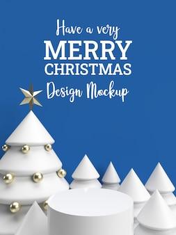 3d blaue winterweihnachtsfeiereinladungs-feiertagskartenmodell