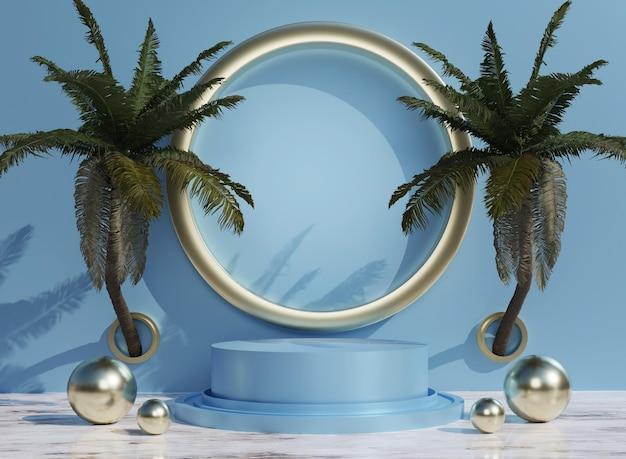 3d blaues podium mit tropischen bäumen für produktplatzierung im hintergrund und bearbeitbare farbe