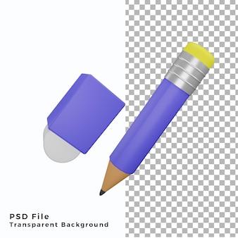 3d-bleistift- und radiergummi-symbolillustration hochwertige psd-dateien