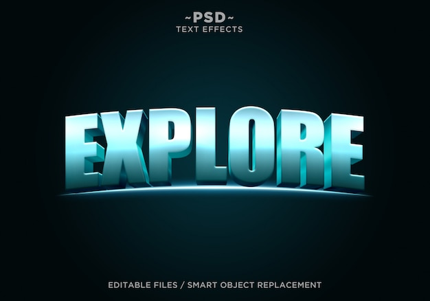 3d blue explore cinematic effect bearbeitbarer text
