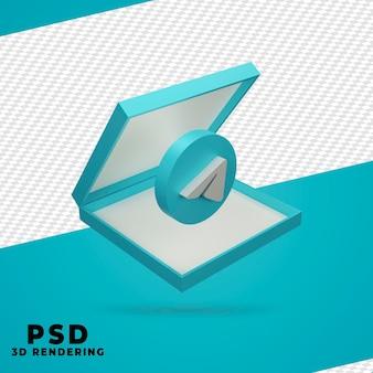 3d-box-telegramm-rendering isoliert