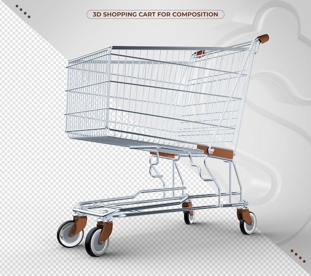 3d brauner einkaufswagen isoliert