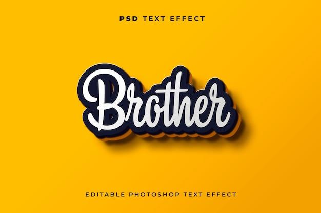 3d-bruder-texteffektvorlage mit gelbem hintergrund