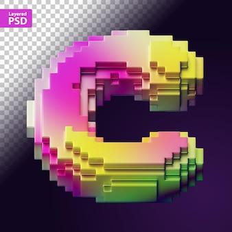 3d-buchstabe aus bunten pixeln