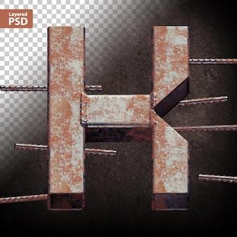 3d-buchstabe aus geschweißten grunge-metallrohren