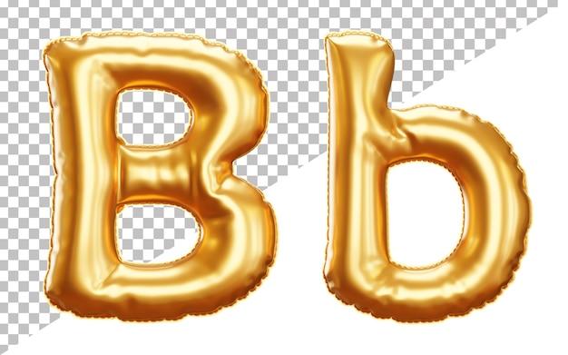 3d-buchstabe b gold heliumfolie ballon alphabet mit groß- und kleinbuchstaben