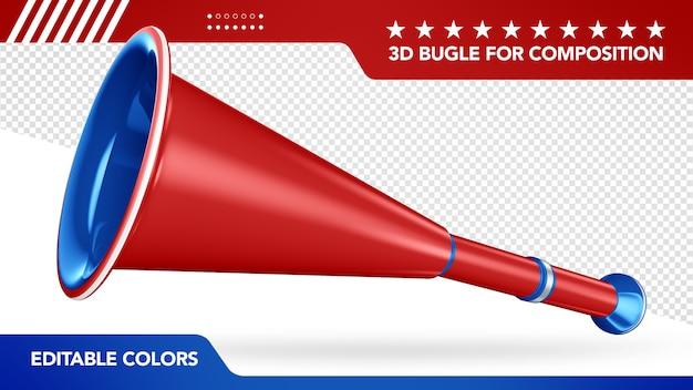 3d bugle für komposition und mit bearbeitbaren farben