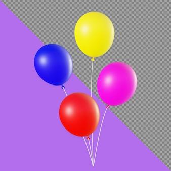 3d bunter ballon-rendering-design isoliert