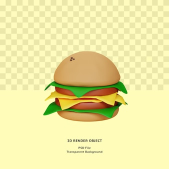 3d-burger-illustratin-objekt gerendert premium-psd