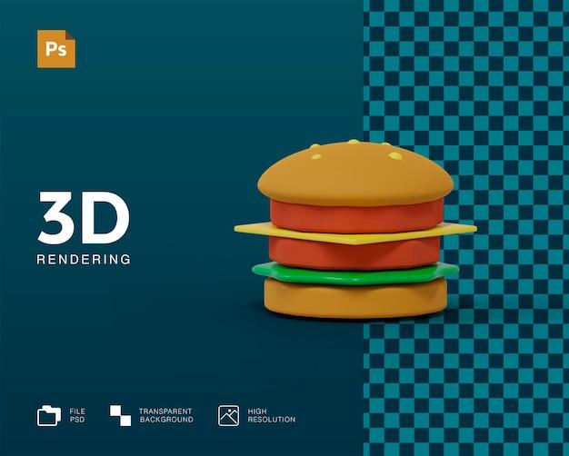 3d-burger-rendering isoliert