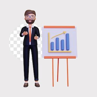 3d-business-präsentation mit diagramm