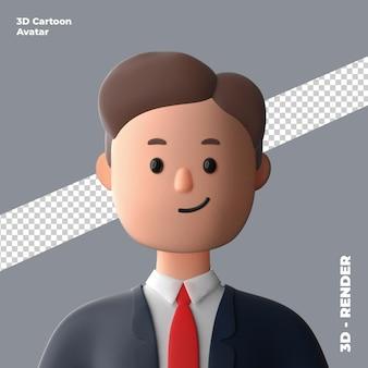 3d-cartoon-avatar isoliert in 3d-rendering