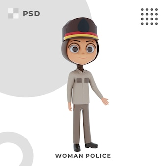 3d-cartoon-figur der polizistin mit pose