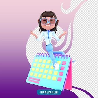 3d-charaktermädchen mit kalender
