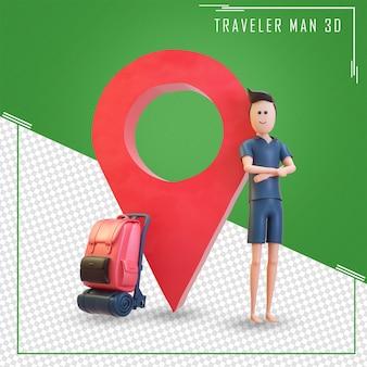 3d-charaktertourist steht mit einem großen kartenzeiger und einer tasche
