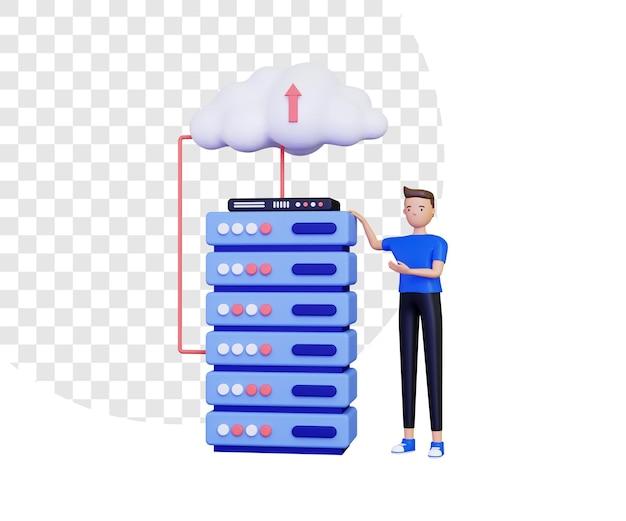 3d-cloud-daten mit männlichem charakter Premium PSD