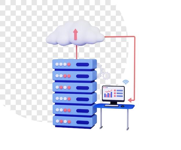 3d-cloud-hosting mit computer auf dem tisch