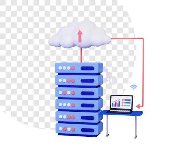 3d-cloud-hosting mit laptop auf dem tisch