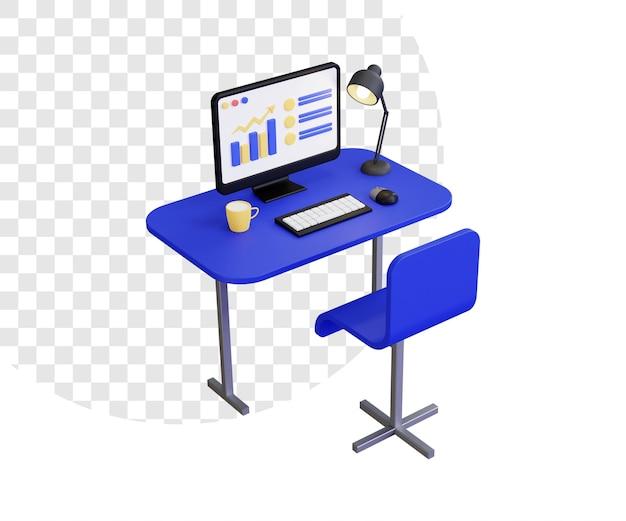 3d-computer-schreibtisch-arbeitsplatz mit lampe und tasse