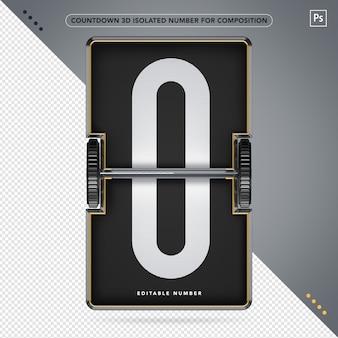 3d-countdown-nummer für die komposition isoliert