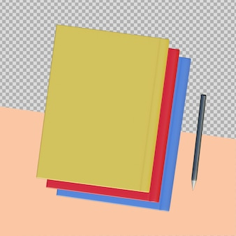 3d-cover-bücher, die isoliert darstellen