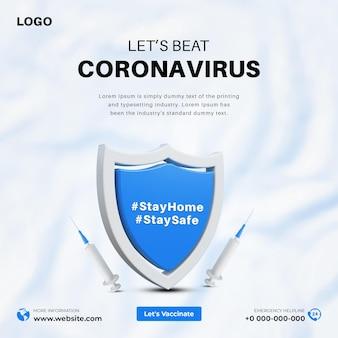 3d covid19 social-media-banner-designvorlage