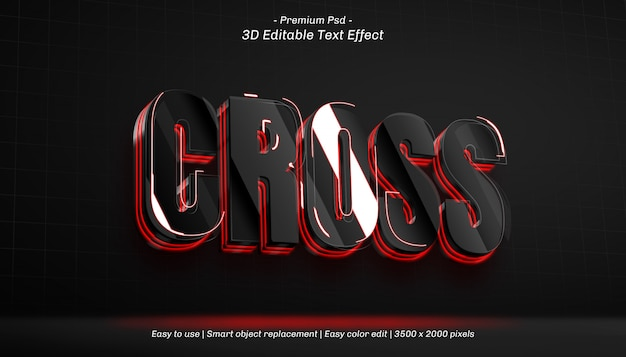 3d cross editable text effect