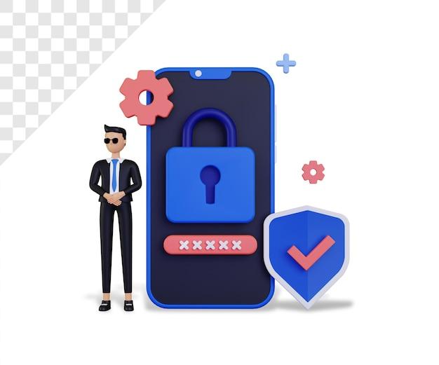 3d-cybersicherheit mit smartphone und männlichem charakter